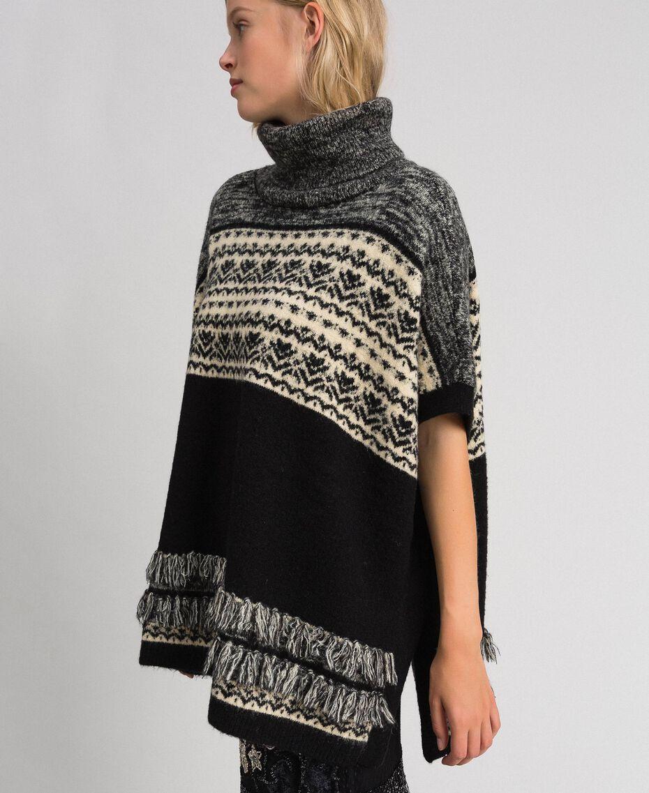 Mohair jacquard blend poncho Black Woman 192LL3AJJ-02