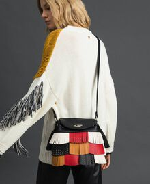 Faux leather bucket bag with fringes and studs Poppy Red / Saffron Yellow / Vanilla Woman 192MA7020-0S