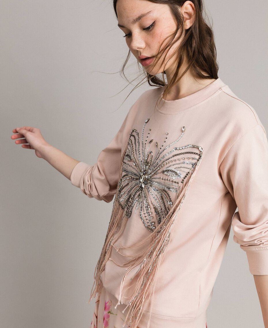 Butterfly embroidery and fringe sweatshirt Bud Pink Woman 191TP2590-02