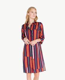 """Printed nightdress Tobacco Stripe / """"Love Bites"""" Fuchsia Female IA7RNN-02"""