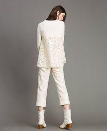 Pullover mit Spitzendetails Weiß Schnee Frau 191TP3202-03