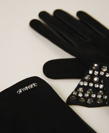 Leather gloves with bow Black Woman 202TA4354-02