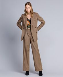 "Double-breasted wool blend jacket ""Burnt"" Orange Small Check Jacquard Woman TA821U-0T"