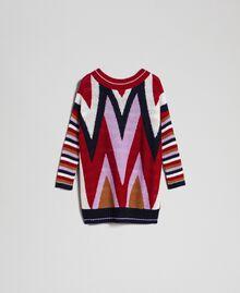 Maxi pull multicolore en laine et mohair Chevrons Rouge «Samba» Femme 192ST3110-0S