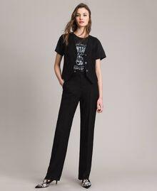 Pantalon en toile naturelle Noir Femme 191TT2295-01