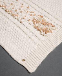 Sciarpa in maglia a trecce con ricamo Bianco Papiro Donna 192TA4410-02