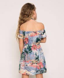 "Linen blend printed dress ""Hawaii"" Blue Print Child 201GJ2342-03"