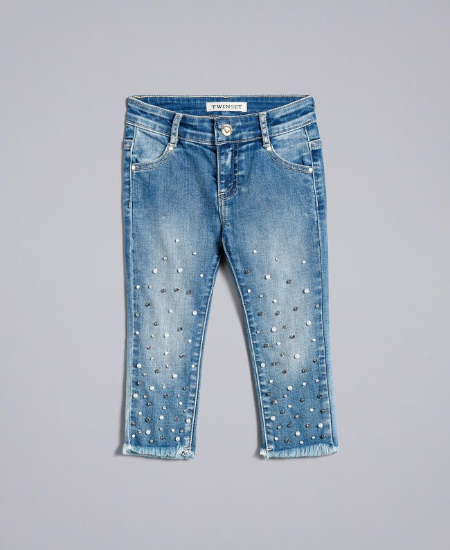 "Skinny jeans with pearls and rhinestones ""Mid Denim"" Blue Child FA82V1-01"