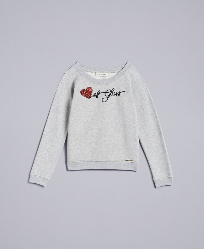 Maxisweatshirt aus Viskose Hellgrau-Mélange Kind GA82R1-01