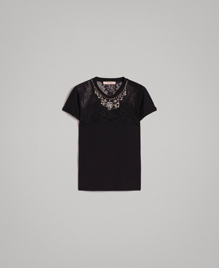 Lace and rhinestones T-shirt Black Woman 191TP2603-0S