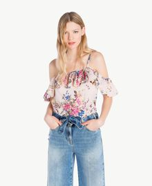"Printed top ""Rose Bouquet"" Flower Print Woman YS82PK-01"