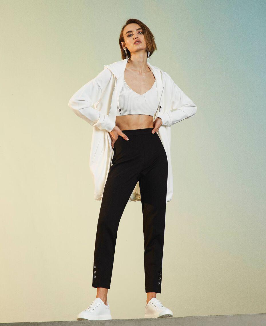 Maxi sweat-shirt avec insertions en taffetas Blanc Vanille Femme 211MT2060-02