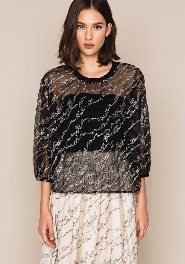 Блуза из тюля с вышивкой логотипа