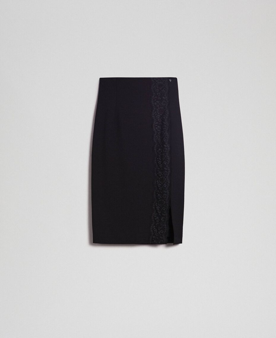 Mid-length skirt with lace Black Woman 192TP2095-0S