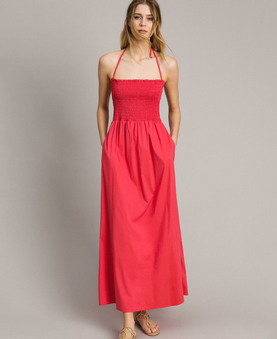 """Robe longue en popeline """"Jus d'Orange"""" Femme 191LM2CHH-02"""