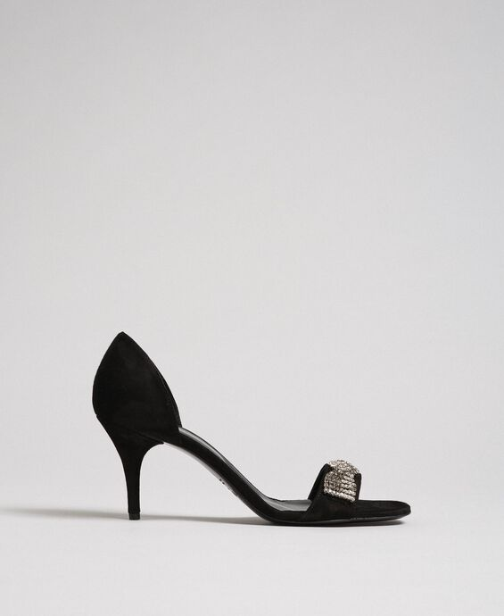 Sandales en cuir velours avec strass