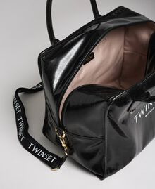 Sac week-end en similicuir brillant Noir Femme 192TA7172-04