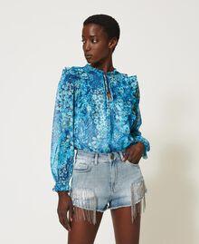 Denim shorts with bezel fringes Denim Woman 211TT2381-02