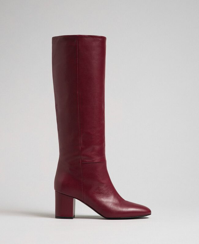 Leather high boots Beet Red Woman 192TCP100-01
