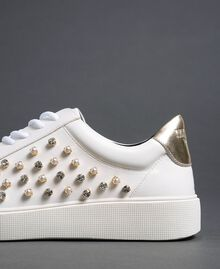 Sneakers in similpelle con strass Bianco Donna 192MCT140-04