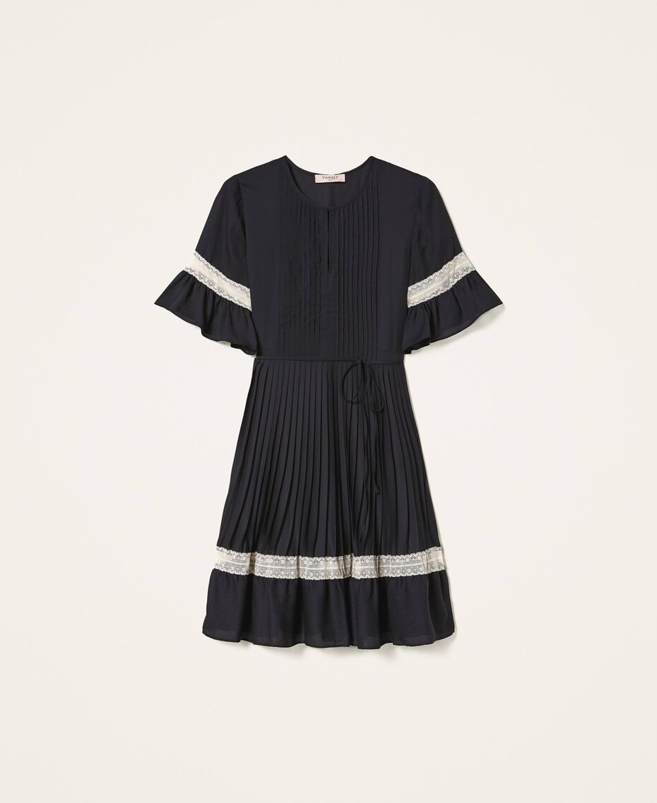 Pleated dress with lace Black Woman 202TP2130-0S