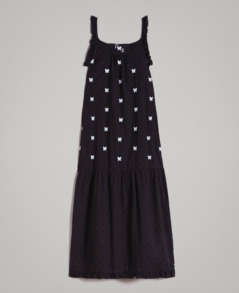 Plumetis long dress with embroideries Black / Optical White Embroidery Child 191GJ2372-01