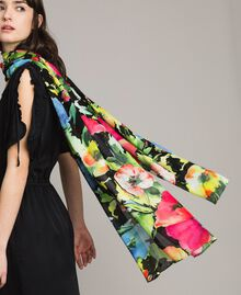 Floral print cotton and wool scarf Black Garden Print Woman 191TO530H-0T