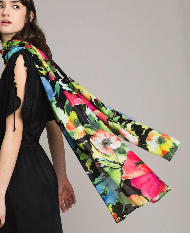 Schal aus Baumwolle und Wolle mit Blumenmuster Motiv Schwarzer Garten Frau 191TO530H-0T