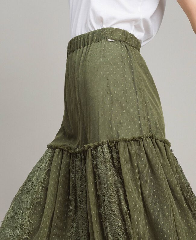 Tulle and lace mid-length skirt Blue Shadow Woman 191ST2072-04