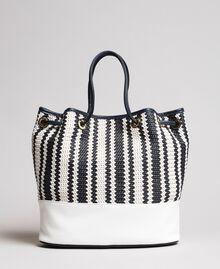 Plaited faux leather bucket bag Indigo Woman 191TO8131-04