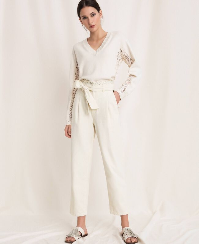 "Canvas trousers with broderie anglaise ""Dune"" Beige Woman 201TP2015-01"