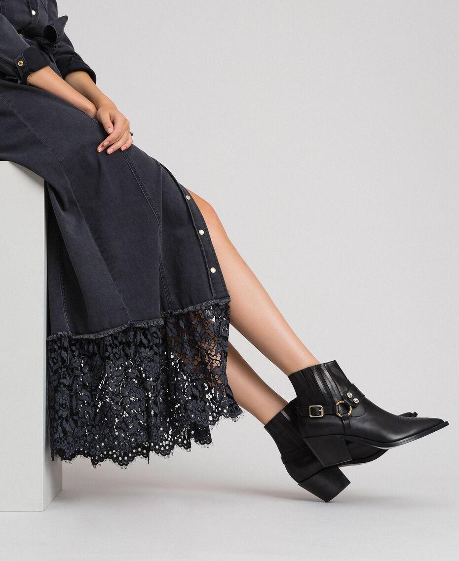 Boots à talons en cuir Noir Femme 192TCP10G-0S
