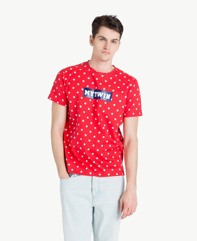 T-Shirt mit Tupfen Geranienrot Mann US8253-01