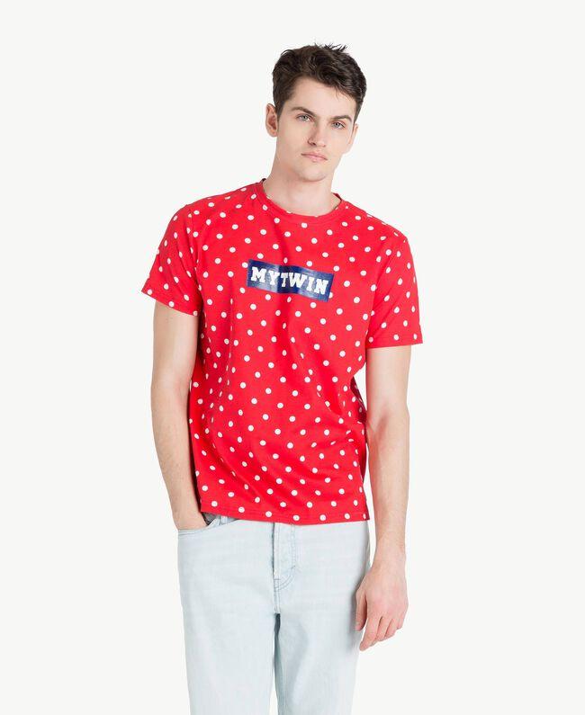 "Polka dot T-shirt ""Geranium"" Red Man US8253-01"