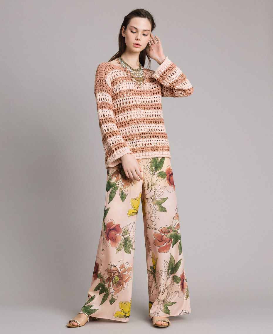 "Floral print crêpe de Chine trousers All Over ""Shell"" Beige Flower Print Woman 191MT2212-0T"