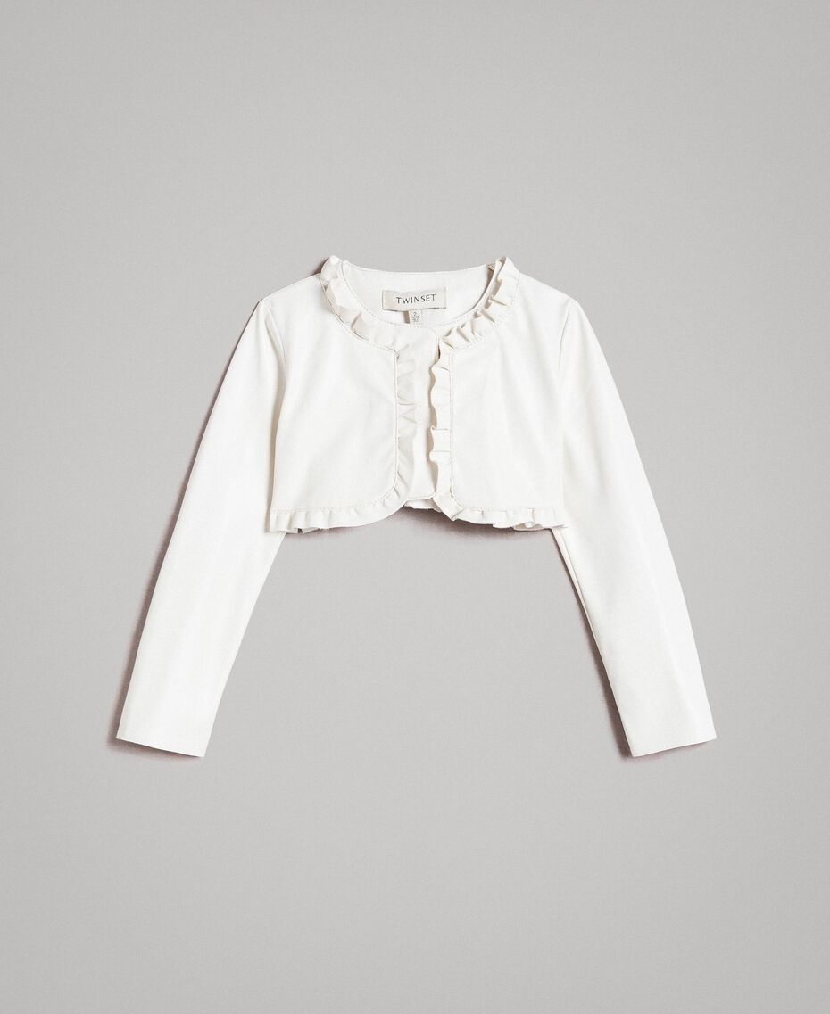 Cropped faux leather jacket with ruches Pale Cream Child 191GB2500-01