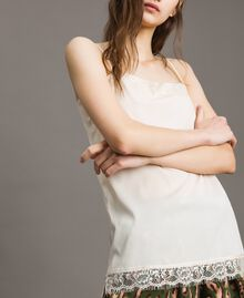 "Crêpe de Chine top with lace ""Shell"" Beige Woman 191MT2450-04"