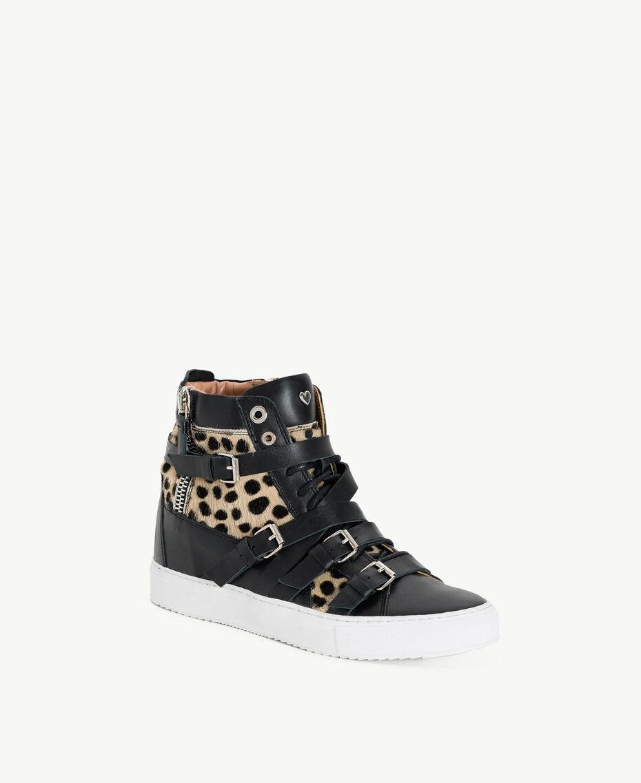 TWINSET Sneaker mit Animalier-Dessin Schwarz Frau CS8PNQ-02