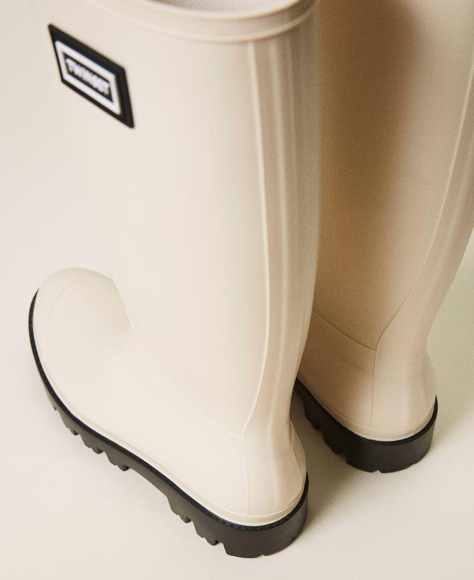 Stivali da pioggia con logo Bianco Panna Donna 202TCP210-03