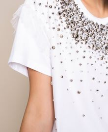 T-shirt with embroidered tulle White Woman 201TP2061-05