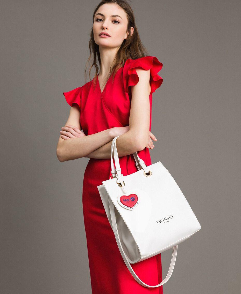Mon Coeur Tote-Bag aus Lederimitat Weiß Vanille Frau 191TQ701A-0S