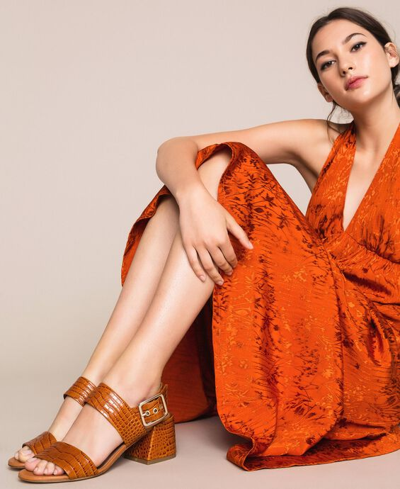 Leather sandals with croc print