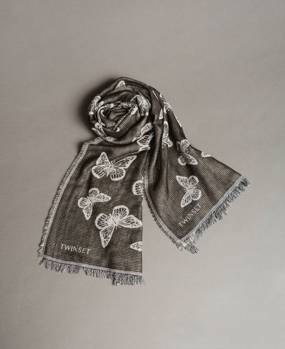 Lurex stole with butterflies Black Woman 191TO530B-02