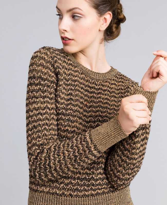 Pull en jacquard lurex Jacquard Camel Lurex Femme PA835C-01
