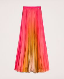 "Pleated chiffon long skirt ""Sugar Coral"" Red / Golden Yellow Fadeout Print Woman 201TT2520-0S"