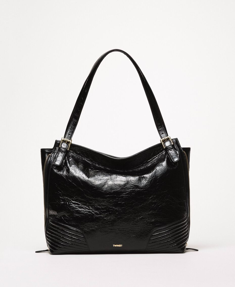 Rebel Hobo-Bag aus Glanzleder Schwarz Frau 201TO823V-01