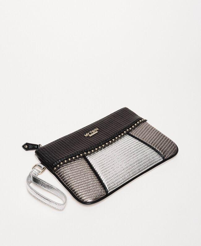 """Multicolour faux leather pochette Multicolour Black / """"Gun Metal"""" Grey / Silver Woman 201MA7025-03"""
