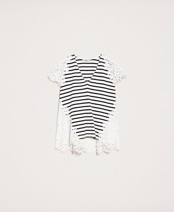 Striped T-shirt with macramé lace
