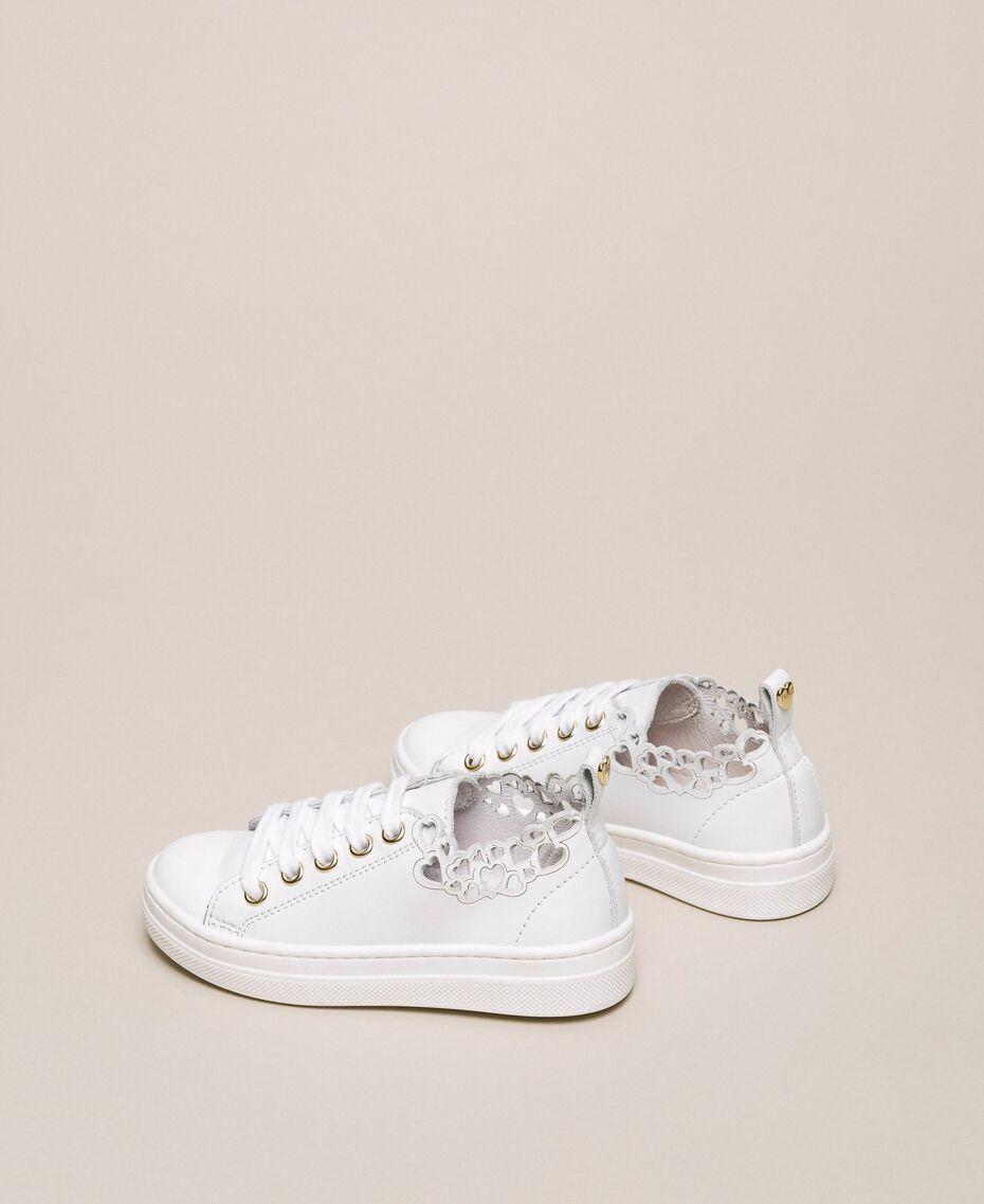 Sneaker aus Nappaleder mit Stickerei Weiß Kind 201GCB070-03