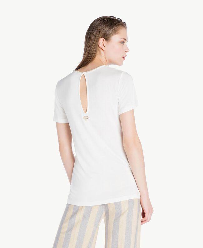 T-Shirt mit Stickerei Elfenbein Frau BS8EFF-04